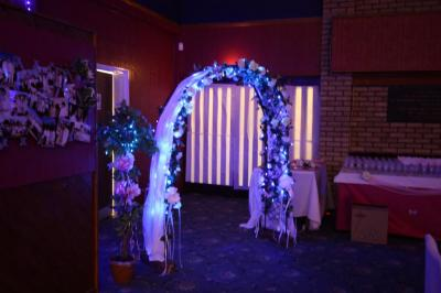 Our lighted wedding arch